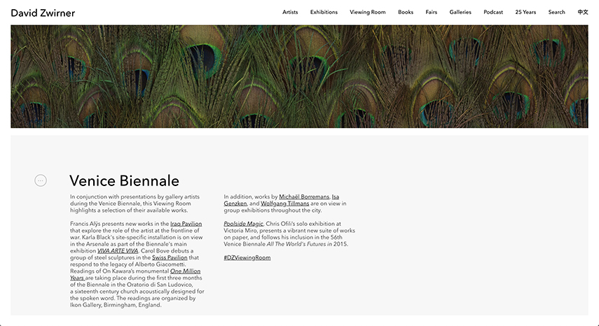 David Zwirner's First Online Viewing Room dedicated to The Venice Biennale of 2017