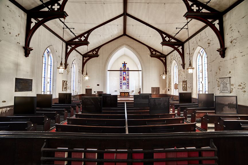 Dawoud Bey photo installation at St. John's Episcopal Church for FRONT International