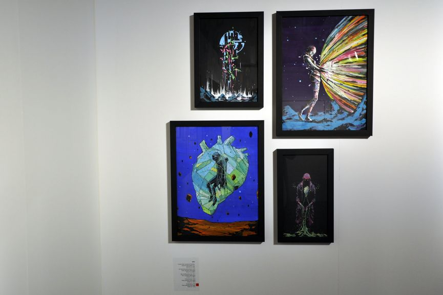 Deih - Cuando Solo Interviene el Corazon, 2017 (upper left); The New One and the Moon, 2018 (upper right); Sky is Talking About you, 2017 (below left); Crystal Dreams, 2018; Downloading, 2018 (below right)