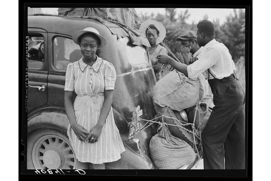 Delano - Group of Florida migrants on their way to Cranberry, New Jersey, to pick potatoes. Near Shawboro, North Carolina, July 1940