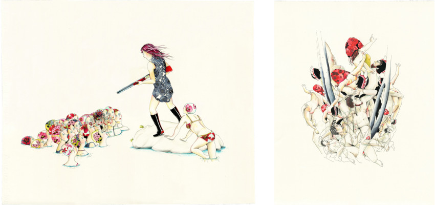 Art by Delphine Lebourgeois - The Girl Has a Gun Series - 2013 - prints