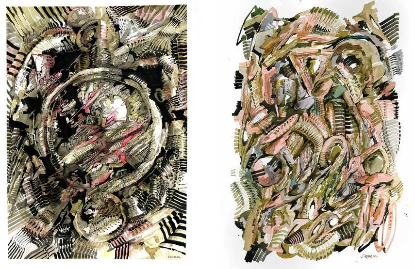 Dem189 - Two untitled works on paper, 2015