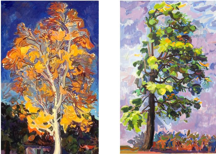 Dena Lyons - Birch, 2013, (left), Dena Lyons - Toxic Beauty, 2010, (right), photo credits - artist, painting