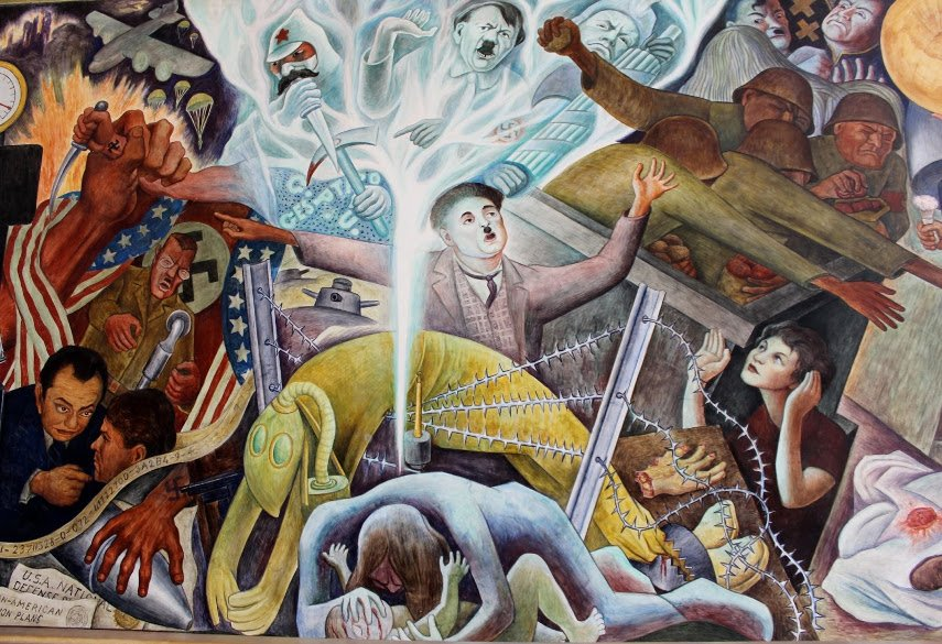Detail of the Diego Rivera Mural Depicting Home Germany