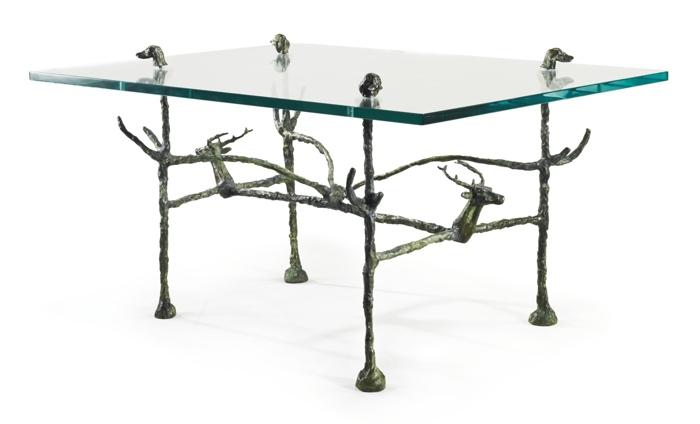 Diego Giacometti-Table Basse Trapezoidale Modele Aux Cerfs Et Aux Chiens-1963