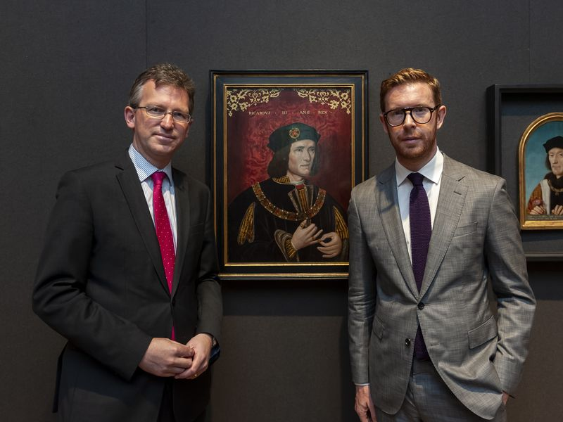 Director of the National Portrait Gallery, Dr Nicholas Cullinan with Secretary of State for Digital, Culture, Media and Sport, Jeremy Wright, in front ofKing Richard III by Unknown artist, late 16th century