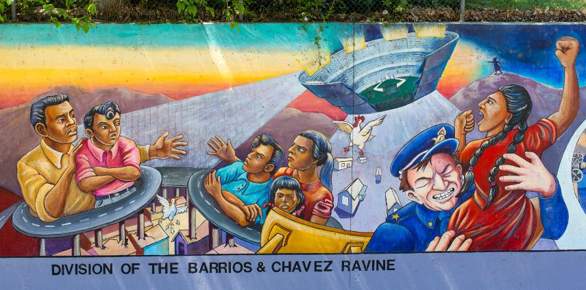 Best part of the Great World Wall depicting the murals story of Barrios and Chavez Ravine