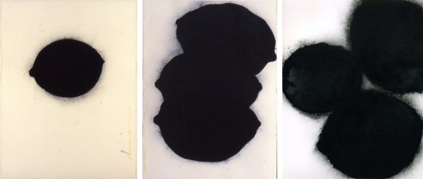 Donald Sultan - Black Lemon, May 22, 1984 (Left) - Black Lemons, Oct 13, 1984 (Center) - Black Lemon and Egg, Feb 24, 1987 (Right)