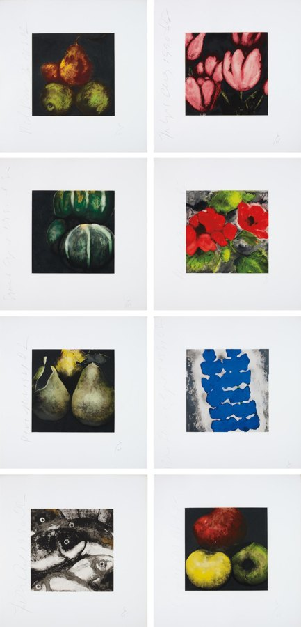 Donald Sultan-Fruit, Flowers and a Fish-1991