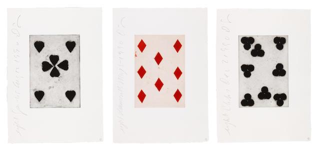 Donald Sultan-Playing Cards Portfolio: Eight of Spades, Diamonds, Clubs-1990