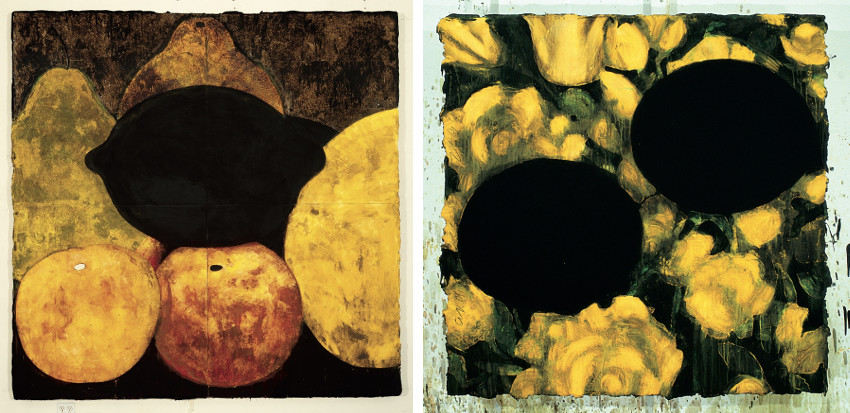 Donald Sultan - Three Apples, Three Pears, and a Lemon, Dec 6, 1986 (Left) - Eggs and Roses, Jan 12, 1999 (Right), 2012