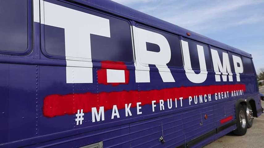 Donald Trump Campaign Bus Art sports news iowa 2015 philadelphia gleeson today miami iowa news email video