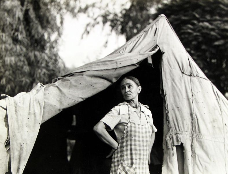 Dorothea Lange - Greek migratory woman living in a cotton camp near Exeter, California, c.1935, FSA works from the Library of Congress