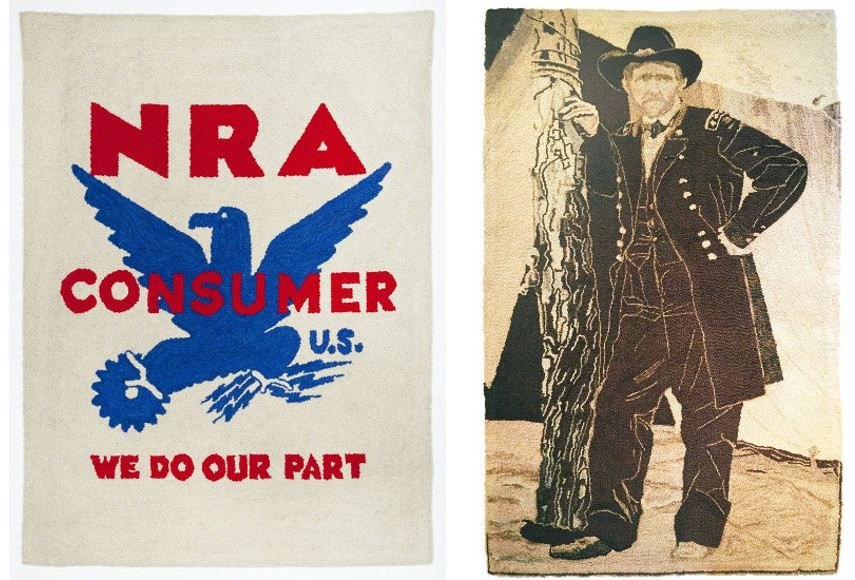 Dorothy Grebenak - NRA Tapestry (National Recovery Administration), 1963 -------- General Grant After Brady, 1960 - Images via pinterestcom