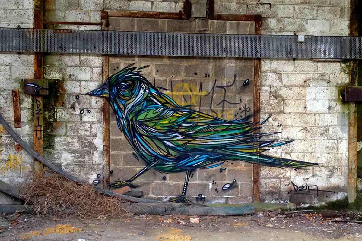 Street art bird murals