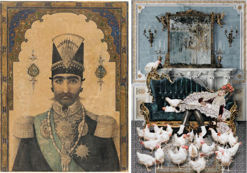 Early Portrait of Nasir al-Din Shah (r. 1848–96), c. 1850 - Siamak Filizadeh - Anis al-Daula from the series Underground, 2014