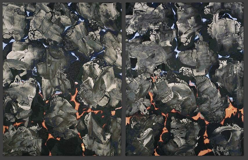 Ed Moses - Bronco - X Diptych, 2006