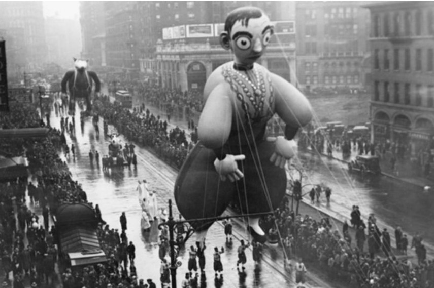Still in the same year, the first-ever balloon made in the likeness of a real person was featured in the Parade, the famous figure was Eddie Cantor. Known for his song Makin' Woopee, Eddie Cantor was not a big hit with the children in the parade, but he remains as one of the only balloons based on real people.