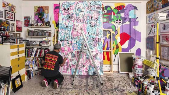 Eddie Hara in his studio - image via youtube.com
