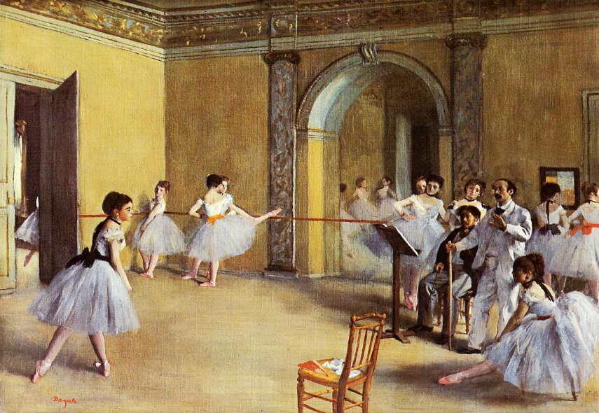 Edgar Degas - Dance Class at the Opera, 1872, photo credits lilicorneoire.blogspot.com french artist portraits works woman history degas dancers years new ballet