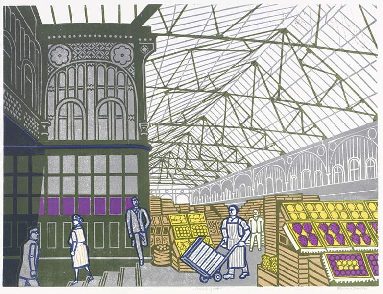 Edward Bawden - Covent Garden Foreign Fruit, 1967, Lithograph after linocut, Courtesy Osborne Samuel