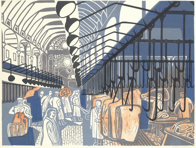 Edward Bawden-Smithfield Market, from Six London Markets, Among the Marsh Arabs-1967