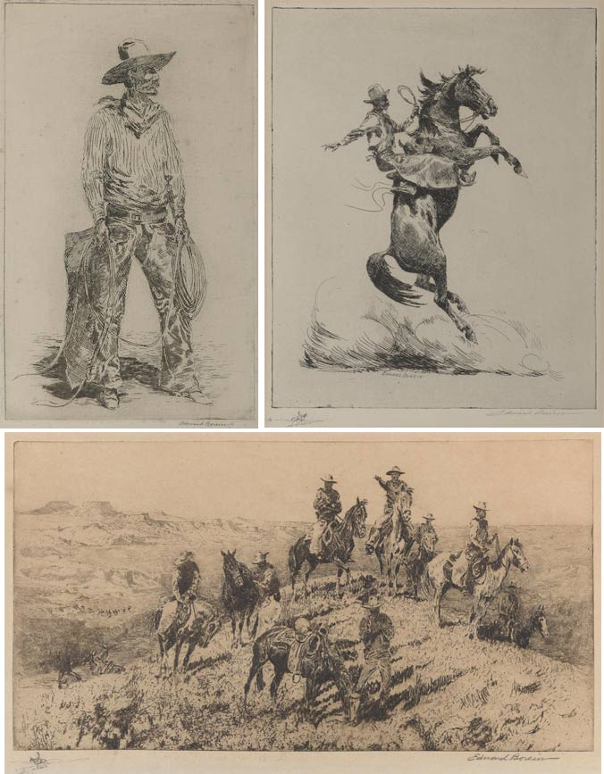 Edward Borein-Selected Images (Rope Tosser; A Cowman; The Pinto Horse; Going to Town, No. 1; Grass Hunters, No. 1; Dividing the Riders; Running Wild Horses; The Bell Mare; California Vaqueros; Cinch Binder)-