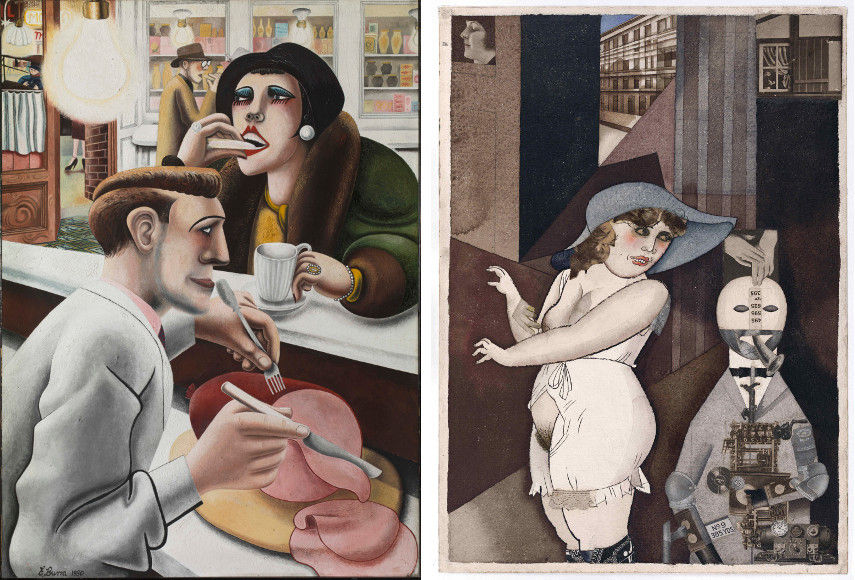 Edward Burra, The Snack Bar 1930, George Grosz - Daum Marries her Pedantic Automaton George 1920