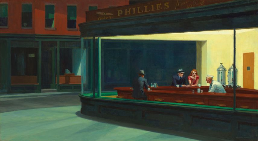 Edward Hopper Nighthawks painting, 1942, New York is in a museum Art Institute