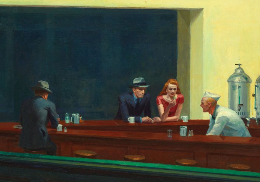 Edward Hopper Nighthawks painting detail, 1942, New York - a woman and three men
