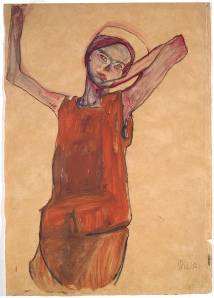 Egon Schiele - Nude Girl with Arms Raised