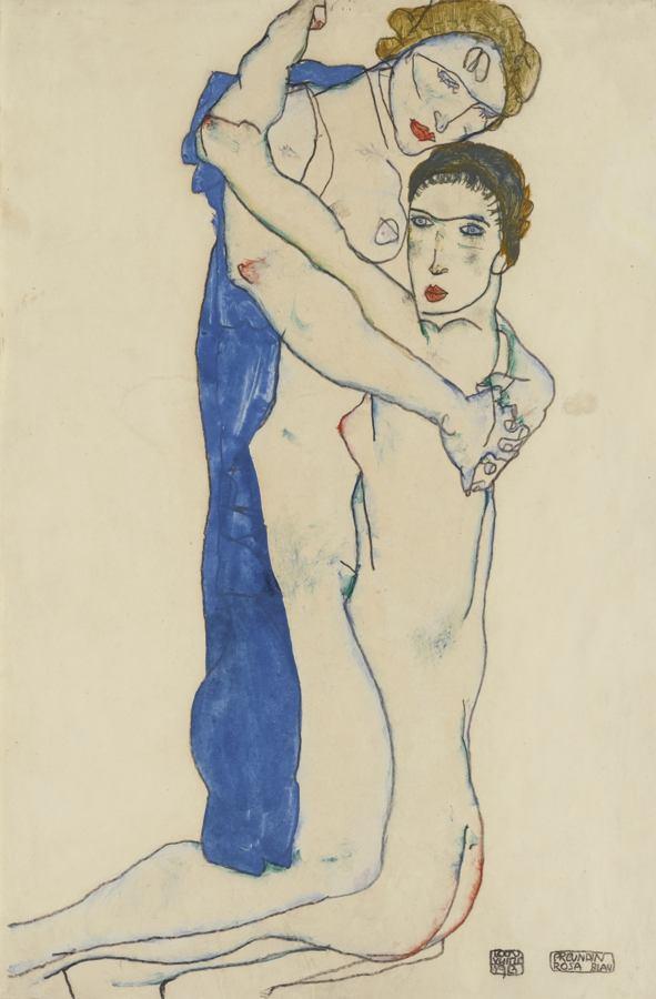 Egon Schiele-Freundin, Rosa-Blau (Girlfriend, Pink-Blue)-1913