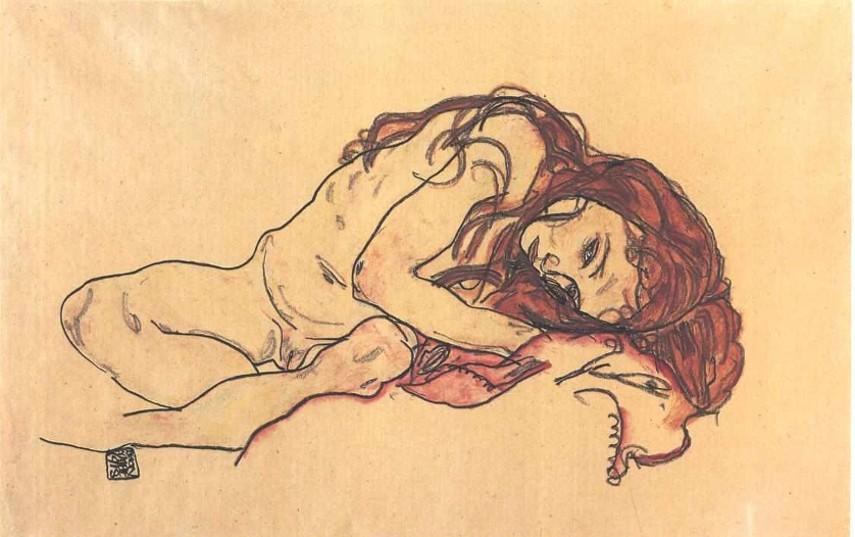 Egon Schiele - Kauerndes Mädchen mit gesenktem Kopf, 1918