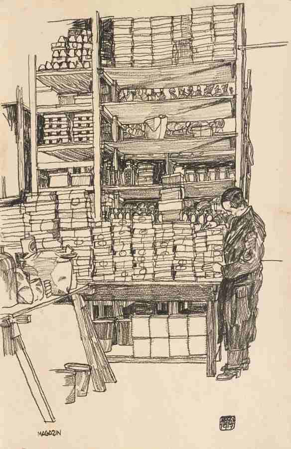Egon Schiele-Konsumanstalt: Magazin Mit Zivilarbeiter In Wien Schottenfeldgasse (Supply Depot: Storeroom With Civilian Worker In Vienna Schottenfeldgasse)-1917