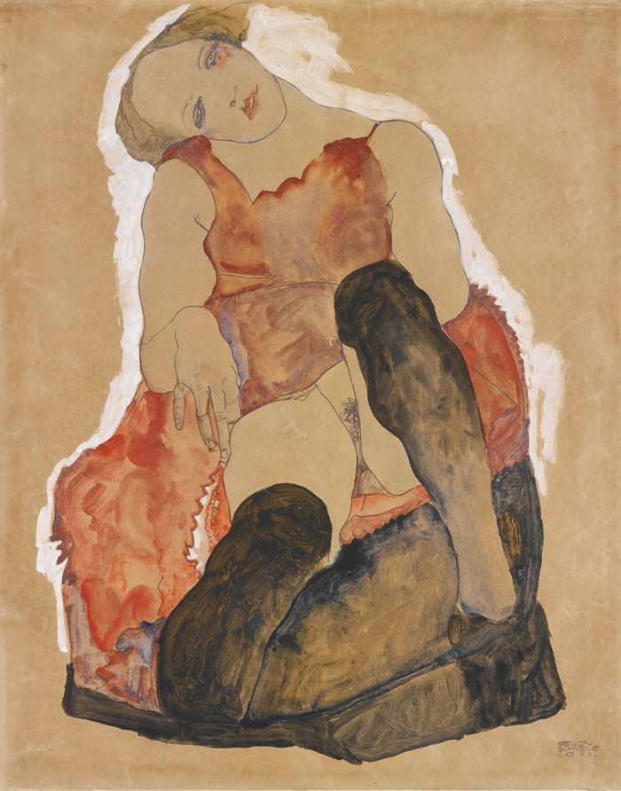 Egon Schiele-Madchen Mit Schwarzen Strumpfen (Girl With Black Stockings)-1911