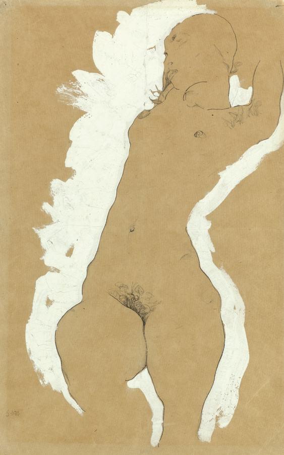 Egon Schiele-Madchenakt Mit Weisser Umrandung (Female Nude With White Border)-1911