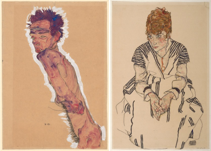Egon Schiele - Nude Self-Portrait, 1910, Portrait of the Artist's Sister-in-law Adele Harms, 1917; From a Egon Schiele self collection Egon Schiele made in 1918; death of Bloch Kiss