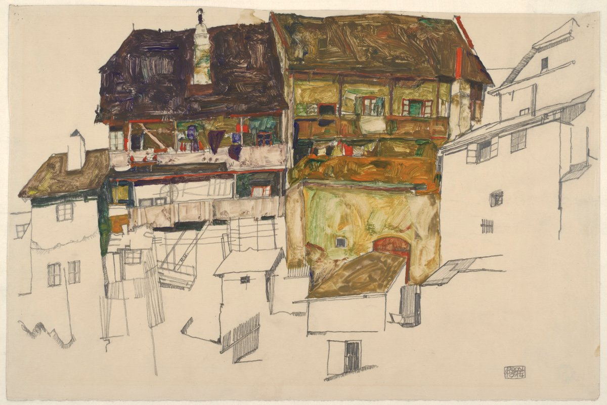 Egon Schiele - Old Houses in Český Krumlov, 1914, From a Egon Schiele self collection made in 1918, Klimt Gustav paintings drawing 2012; use this shot to view egon works