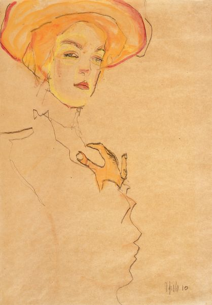 Egon Schiele - Portrait of a Woman with Orange Hat (Gerti Schiele), 1910
