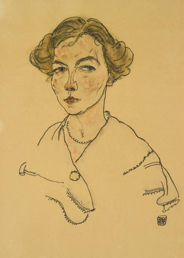 Egon Schiele-Portrat Einer Frau (Lilly Steiner) (Portrait Of A Woman (Lilly Steiner))-1918