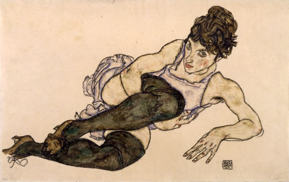 Egon Schiele - Reclining Woman with Green Stockings, 1917