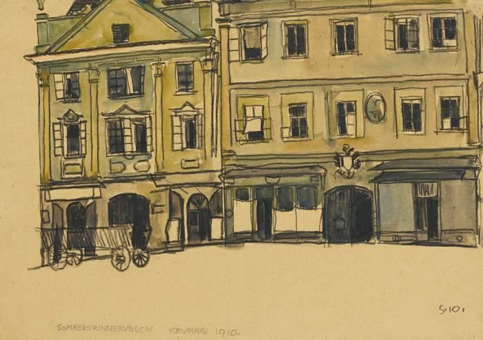 Egon Schiele-Ringplatz-Krummau-1910