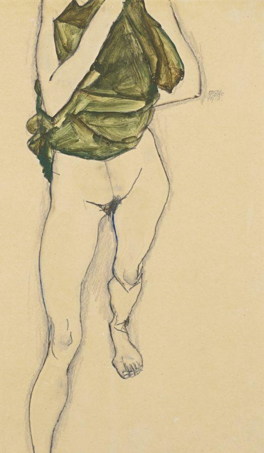 Egon Schiele-Schreitender Torso In Grunem Hemd (Striding Torso In Green Blouse)-1913