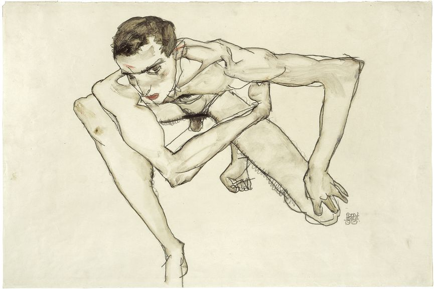 Egon Schiele - Self Portrait in Crouching Position, 1913