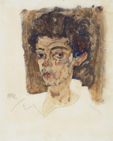 Egon Schiele - Self-Portrait with Brown Background, 1912