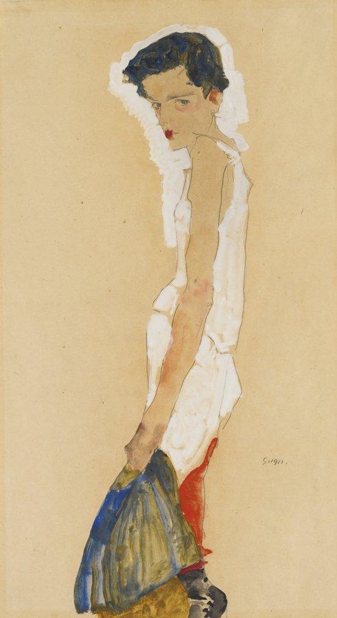 Egon Schiele-Sich Entkleidendes Madchen (Girl Undressing)-1911