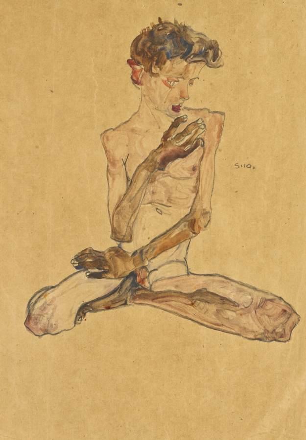 Egon Schiele-Sitzender Junge (Seated Boy)-1910