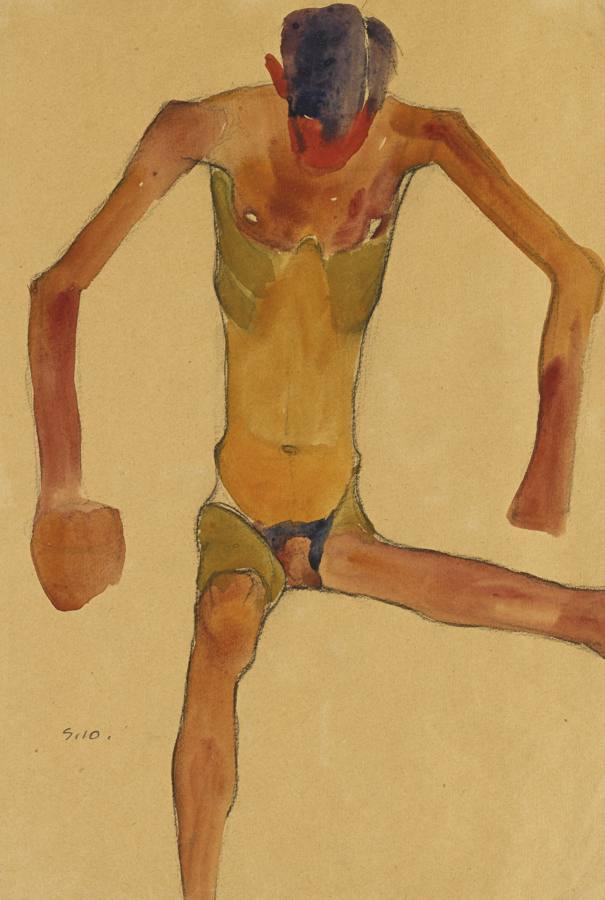 Egon Schiele-Sitzender Mannlicher Akt Mit Gesenktem Kopf (Seated Male Nude With Lowered Head)-1910