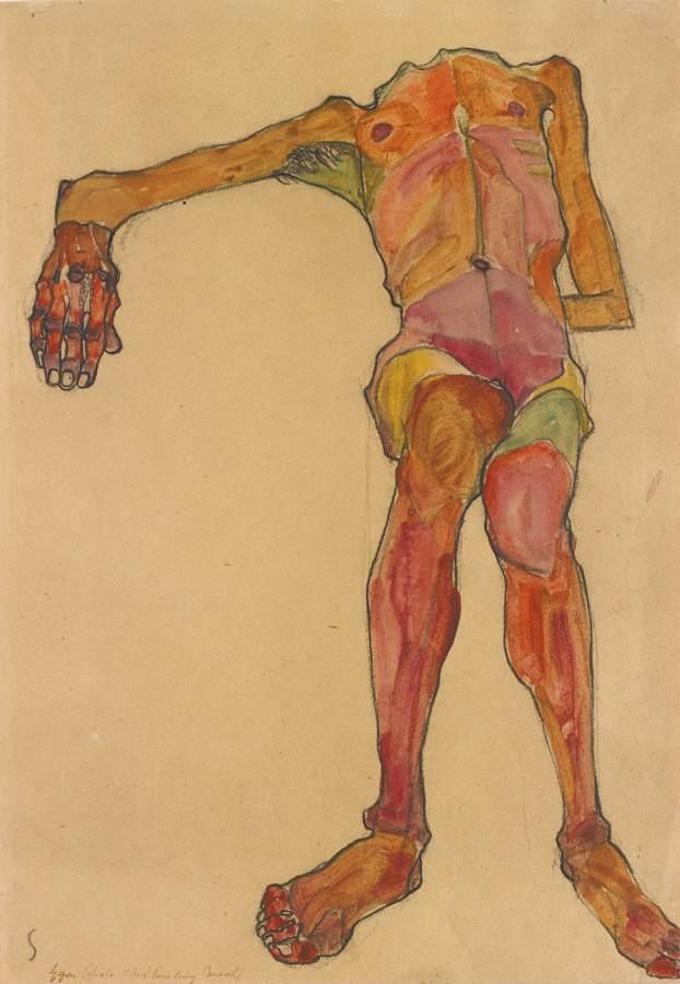 Egon Schiele-Sitzender Mannlicher Akt Mit Vorgestreckter Rechter Hand (Seated Male Nude, Right Hand Outstretched)-1910