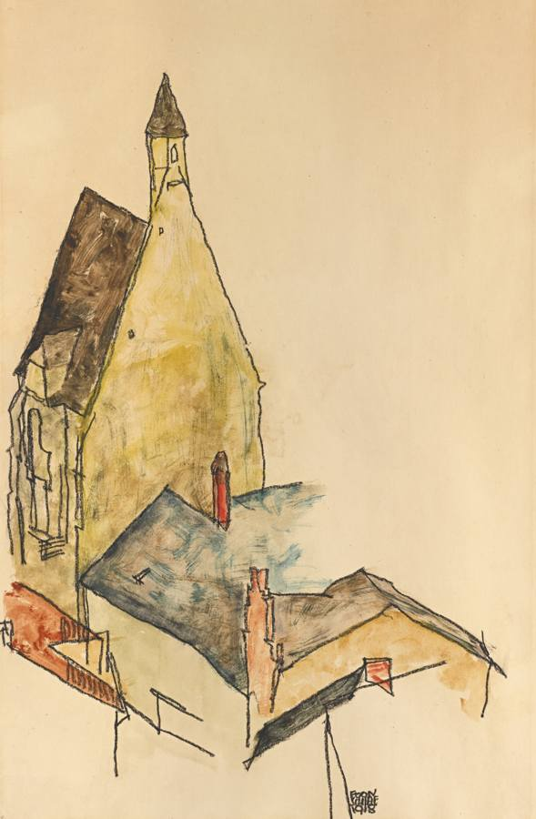 Egon Schiele-Spitalskirche Modling (Church Hospital Modling)-1918